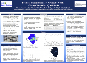 Predicted distribution of kirtland's snake in illinois